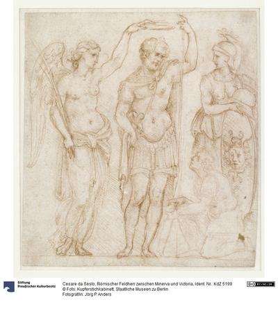 Römischer Feldherr zwischen Minerva und Victoria