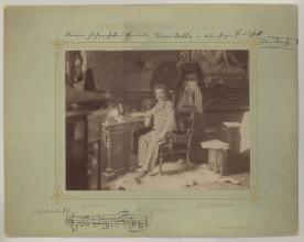 Ludwig Grillich, Skladateľ Johan Strauss pri písacom stole, venovanie archivárovi -  Ján Nepomuk Batka