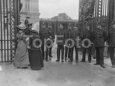 Image from object titled Suffragettes attempt to present a petition to the King at Buckingham Palace Lady Barkley and Hon Edith Fitzgerald
