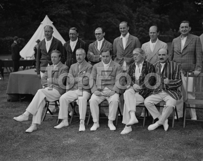 Image from object titled Authors versus Actresses cricket at Hampstead . The Authors team , left to right ; top - Gerald Gould , Miles Malleson , James Laver , Robert Cedric Sherriff, Alec Waugh , Ivor Brown . Bottom , left to right ; Archibald Joseph Cronin , Arthur Bliss , John Boynton Priestley , Sir John Collings Squire , Ralph Straus .