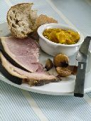 Smoked York ham with pickles and crusty bread  credit: Marie-Louise Avery / thePictureKitchen / TopFoto