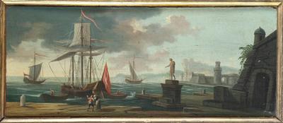 Veduta di mare con porto