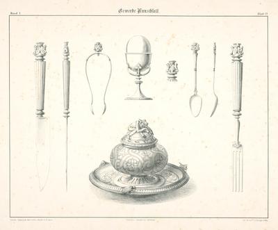 Návrhy na príbory a nádoby (z cyklu Gewerbe Kunstblatt)