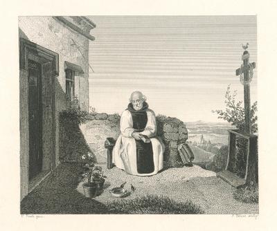 Image from object titled Oddychujúci mních v záhrade