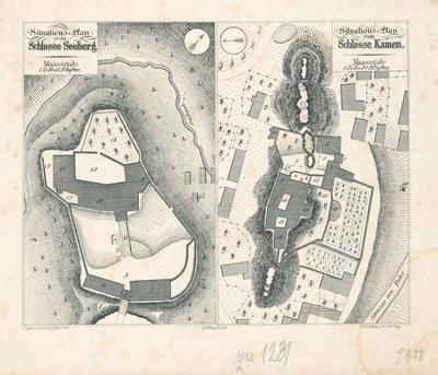 Situačné plány zámkov Seeberg a Kamen