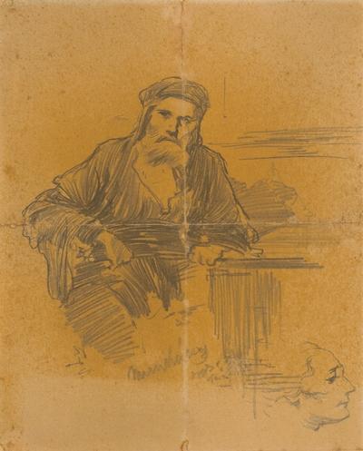 Štúdia sediaceho Žida. K obrazu Kristus pred Pilátom