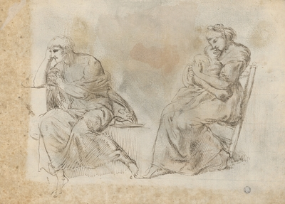 Study of Two Seated Figures (Figure with a Shield on the Back)