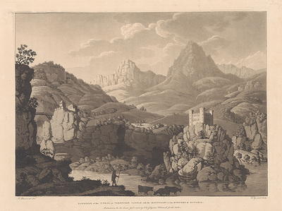 BARRIERE of the TYROL at VERNSTEIN CASTLE with the MOUNTAINS on the BORDERS of BAVARIA