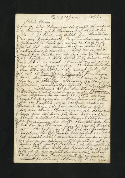 Image from object titled Paris d. 10 Januari 1875.