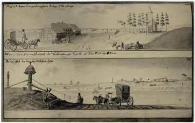 Image from object titled Ādažu novads. Divi J. K. Broces zīmējumi ar Garkalnes krogu un baznīcu un Iļķenes pārceltuvi