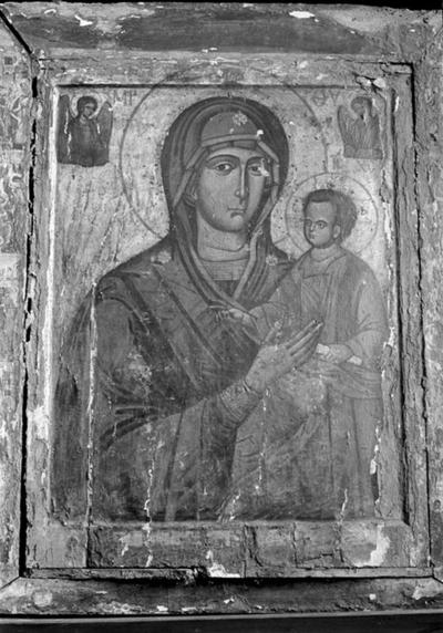 Image from object titled Double-sided icon of Virgin Hodegetria and Crucifixion, Sozopol