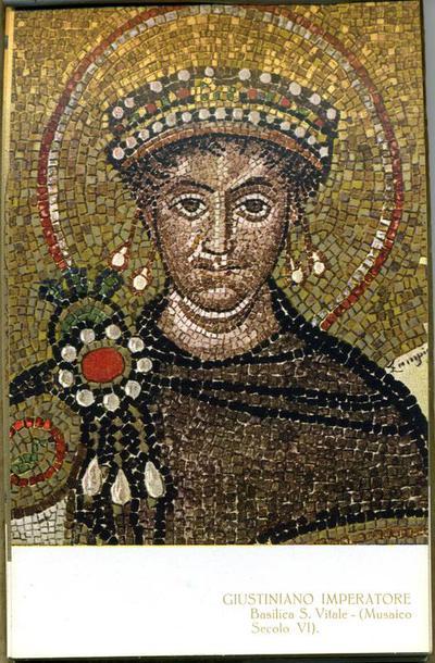 Image from object titled Ravenna, Basilica di San Vitale, Giustiniano  e il suo seguito, particolare
