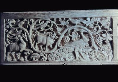 Image from object titled Ravenna, Museo Arcivescovile, Cattedra di Massimiano, pannello con viti e animali
