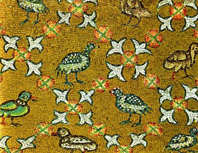 Image from object titled Ravenna, Cappella Arcivescovile, Volta con fiori ed uccelli, particolare