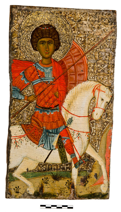 Image from object titled Byzantine Museum of Holy Bishopric of Tamasos and Oreinis (Cyprus): Icon of Saint George (?) (TE2262)
