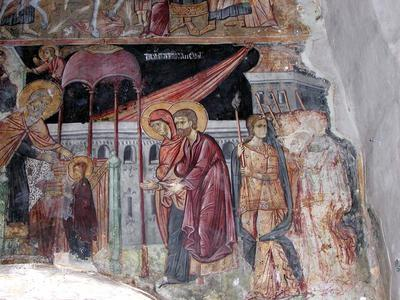 Image from object titled Department of Antiquities, Republic of Cyprus, Geroskipou, Church of Saint Paraskevi, nave, lower zone of south lunette, under the west dome, wall painting, detail