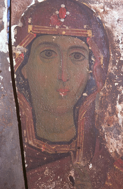 Image from object titled Icon with the Virgin and Child, detail, Byzantine Museum, Kastoria, Greece