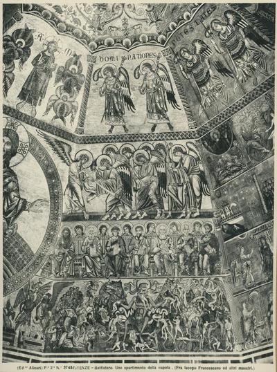 Image from object titled (Ed.ne Alinari) P.e 2. No 3745 Firenze - Battistero. Uno spartimento della cupola, particolare del mosaico della cupola. (Fra Iacopo Francescano e altri maestri)