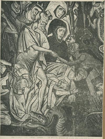 (Ed.ne Alinari) No 17247 Firenze - Battistero. I dannati all' inferno, particolare del mosaico della cupola (XIII secolo)