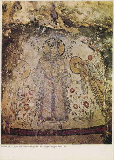 Image from object titled Matera. Cripta del Peccato Originale: La Vergine regina (sec. IX)