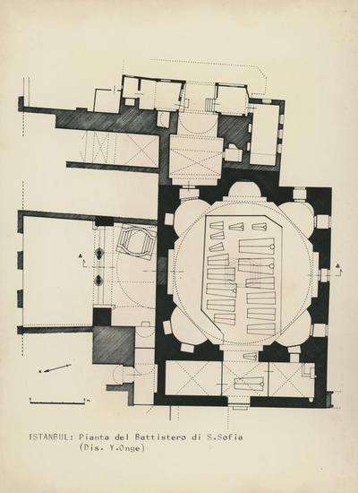Image from object titled Constantinopoli (Istanbul): pianta del battistero di S. Sofia (dis. Y. Onge)