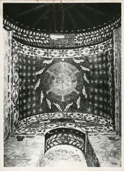 Image from object titled Albenga. Battistero. Particolare della decorazione musiva: la volta del presbiterio