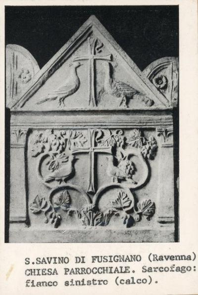 Image from object titled S. Savino in Fusignano (Ravenna). Chiesa Parrocchiale. Sarcofago, fianco sinistro, calco