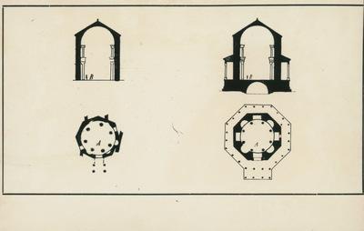 Image from object titled Split (Jugoslavia). Battistero ortodosso (a sinistra) e mausoleo di Diocleziano (a destra). Pianta e sezione.