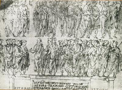 Benevento: arco di Traiano.disegno di Giuliano da Sangallo