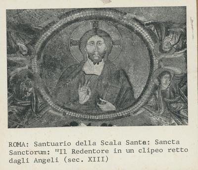 """Image from object titled Roma, Santuario della Scala Santa: Sancta Sanctorum: """"Il Redentore in un clipeo retto da Angeli"""" (sec. XIII)"""