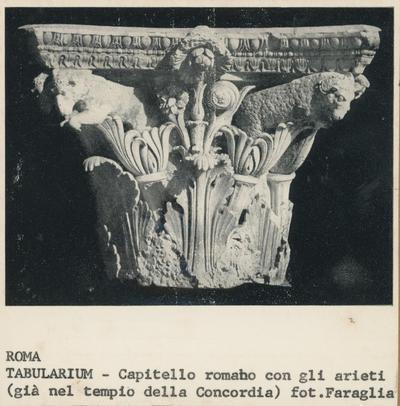 Image from object titled Roma, Tabularium, capitello romano con gli arieti (già nel Tempio della Concordia)
