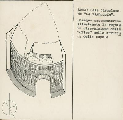 """Image from object titled Roma, Sala circolare  de """"La Vignaccia"""". Disegno assonometrico illustrante la regolare disposizione  delle """"ollae"""" nella struttura delle cupole"""