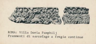 Image from object titled Roma, Villa Doria Pamphilj. Frammenti di sarcofago a fregio continuo