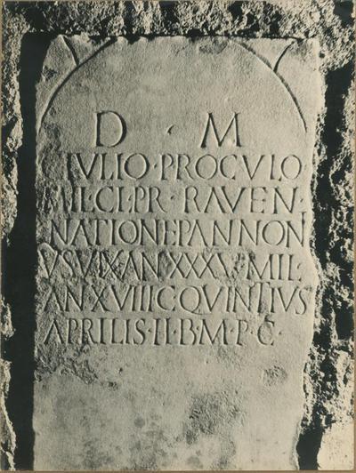 Image from object titled Roma, area sepolcrale di Villa Pamphilj. La lastra funeraria di C. Julius Proculus