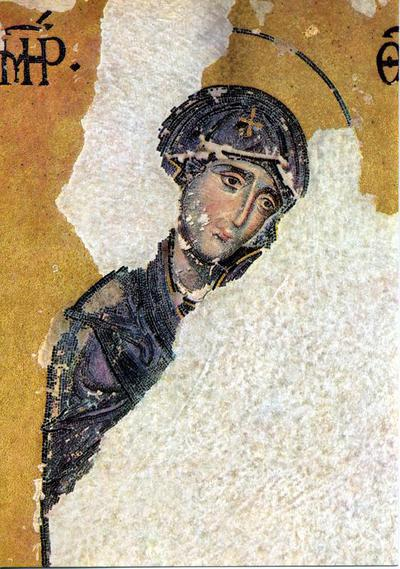 Image from object titled Deesis. The Virgin, detail. Mosaic. 2nd half of the 13th century. Hagia Sophia, Constantinople (Istanbul)