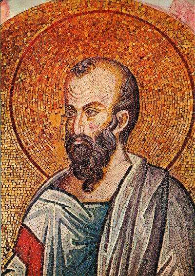 Image from object titled Constantinople, Church of St. Savior in Chora (1315-1321): bust of St. Paul, mosaic (Kariye Museum, Istanbul)