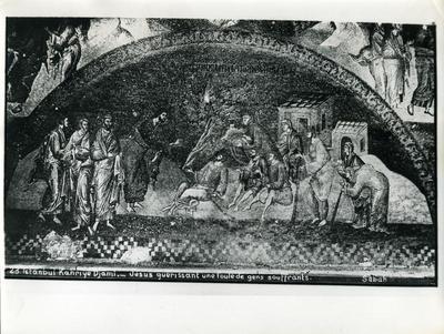 Image from object titled 23. Constantinople, Église Saint-Saveur-in-Chora (Istanbul, Kariye Camii) - Jésus guérissant une foule de gens souffrants - Sebah & Joaillier