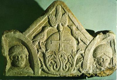 Image from object titled Pola, Archaeological Museum of Istra - Side of cover on Byzantine sarcophagus