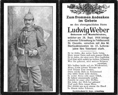 Image from object titled Andenken Ludwig Weber, Ökonom aus Mantelkirchen (Sterbebild)
