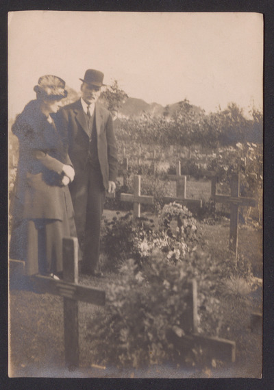Image from object titled Photograph at Thomas Bryers Hepple's grave in Dunkirk