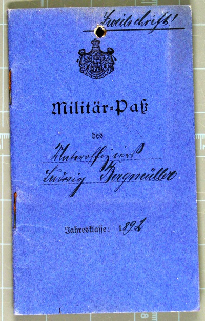 Image from object titled Militärpass, Soldbuch und Dokumente von Ludwig Bergmüller