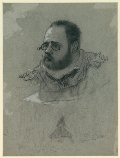 Image from object titled E. Zola : [caricature] : [dessin] / [Nadar]