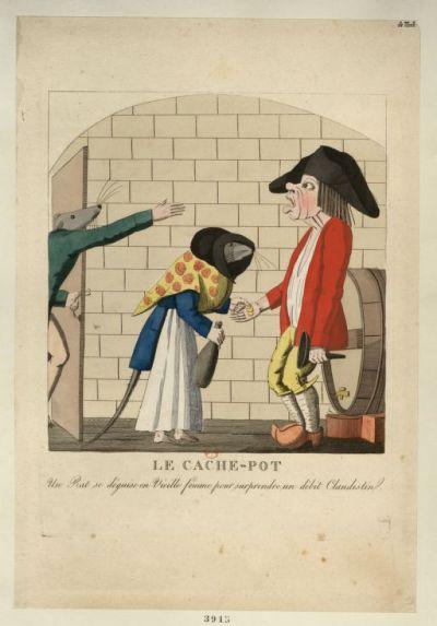 Image from object titled Le Cache-pot : un rat se déguise en vieille femme pour surprendre un débit clandestin : [estampe] / [non identifié]