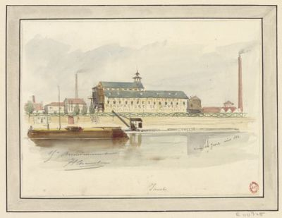 Image from object titled Usine de Javel : [dessin] / JA C [Jules-Adolphe Chauvet]