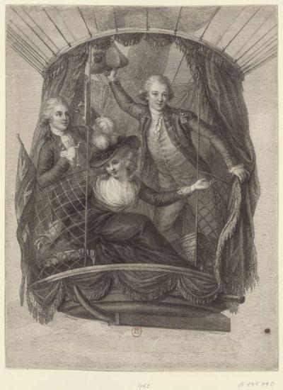 Image from object titled [Nacelle du 2è ballon de Lunardi au cours de l'ascension du 29 juin 1785] : [estampe] / Rigaud pinxit ; F. Bartolozzi Sculp.