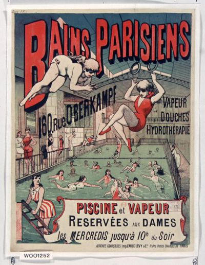 Image from object titled Bains parisiens, 160 rue Oberkampf. Vapeur, douches, hydrothérapie... : [affiche] / [non identifié]