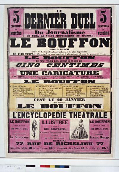 """Image from object titled Le dernier duel du journalisme ce sera la lutte quotidienne du journal """" le Bouffon """" [. ..] contre les lecteurs les plus grincheux et les plus hypocondres [...]. C'est le 20 janvier que paraîtra """" le Bouffon """". Il donnera en prime à ses abonnés un ouvrage du plus haut intérêt : une vraie bibliothèque , l'Encyclopédie Théatrale [...]. Bureaux 77, rue de Richelieu, 77 [...] : rédacteur en chef : Le Guillois - directeur : Lucien d'Hura [...], un an 24fr. : [affiche] / [non identifié]"""