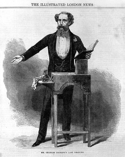 Image from object titled Dickens giving the last reading of his Works.