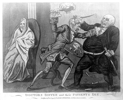 Image from object titled Two doctors quarreling whilst their patient deteriorates. Coloured engraving by I. Cruikshank, 1794.