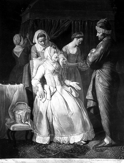 Image from object titled A sick lady addressing her husband, and being nursed by three women. Mezzotint by V. Green after E. Penny, 1774.